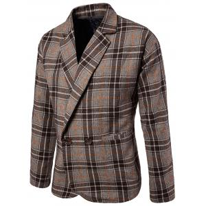 One Button Tweed Plaid Checkered Blazer