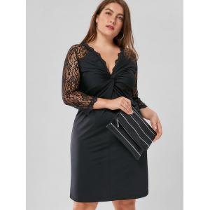 Plus Size Twist Front Lace Panel Dress - Black - 4xl