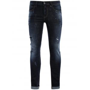Straight Ripped Vintage Jeans - Blue - 32
