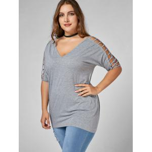 V Neck Cut Out Plus Size Tunic Tee - GRAY 2XL