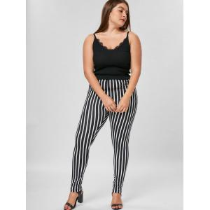 Plus Size Vertical Stripe Tight Pants - BLACK STRIPE 3XL