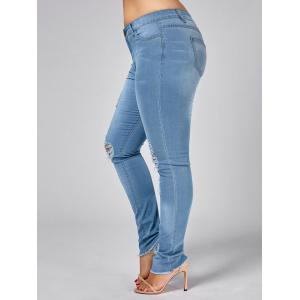 Light Wash Plus Size Ripped Jeans -