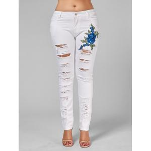 Plus Size Ripped Embroidered Skinny Jeans -