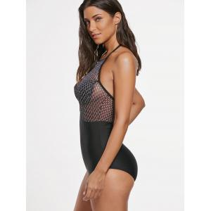 Halter Mesh Insert One Piece Swimwear -
