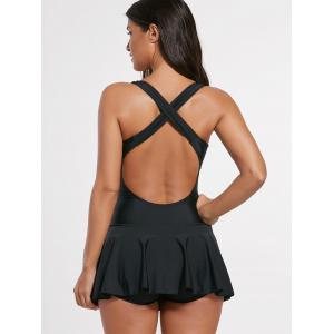 Criss Cross Skirted One Piece Swimsuit -