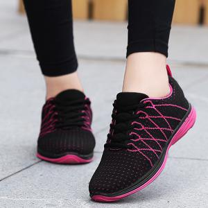 Breathable Geometric Pattern Athletic Shoes -