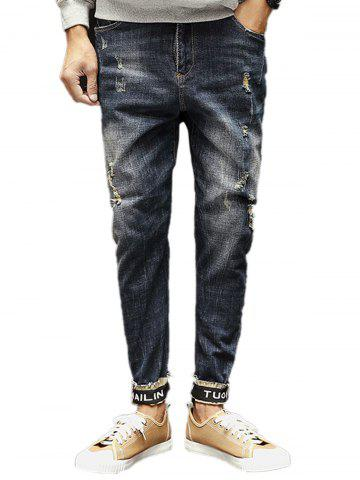 Graphic Elastic Beem Feet Zipper Fly Ripped Jeans - Denim Blue - 36