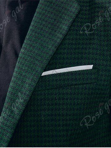 Latest Notch Lapel Casual Houndstooth Blazer - M GREEN Mobile