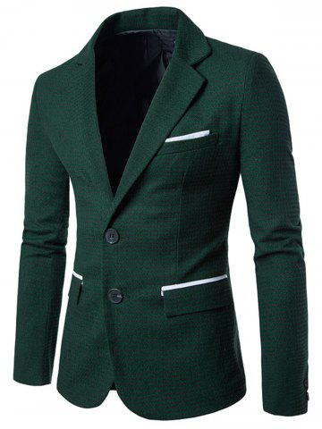 Outfit Notch Lapel Casual Houndstooth Blazer - M GREEN Mobile