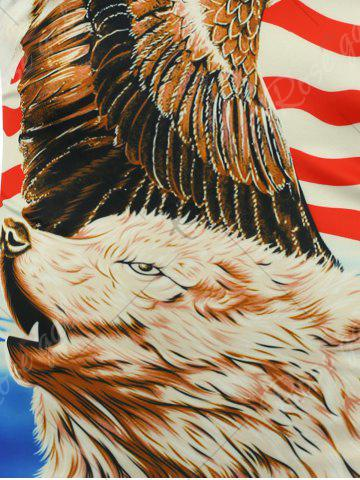Online 3D Bear Eagle and American Flag Print T-shirt - 2XL COLORMIX Mobile