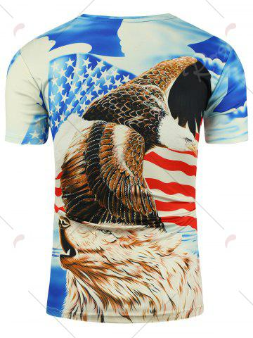 Outfit 3D Bear Eagle and American Flag Print T-shirt - 2XL COLORMIX Mobile