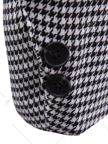 Outfit Notch Lapel Casual Houndstooth Blazer - 2XL BLACK WHITE Mobile