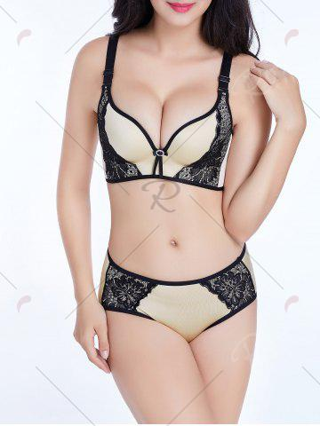 Outfit Push Up Lace Insert Seamless Bra - 80B LIGHT BEIGE Mobile