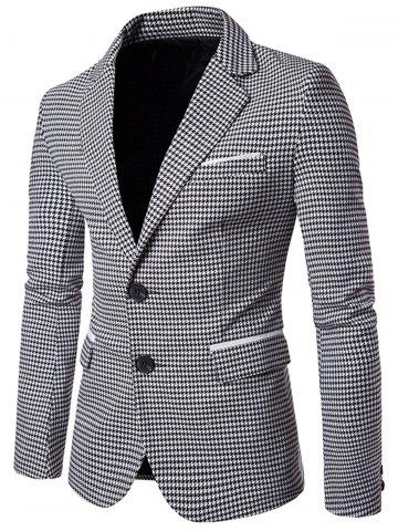 Trendy Notch Lapel Casual Houndstooth Blazer BLACK WHITE L