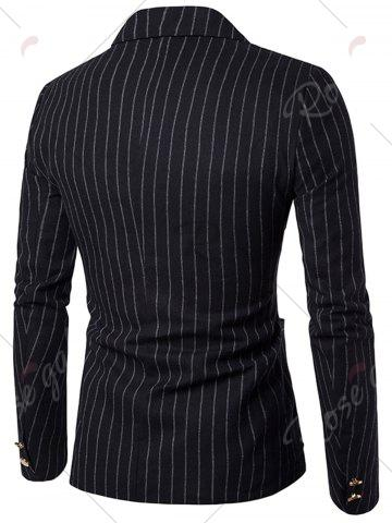 Trendy Peaked Lapel Vertical Stripe Casual Blazer - M BLACK Mobile
