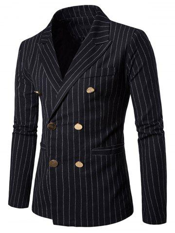 New Peaked Lapel Vertical Stripe Casual Blazer - M BLACK Mobile