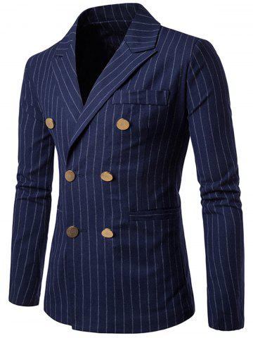Store Peaked Lapel Vertical Stripe Casual Blazer CADETBLUE 2XL