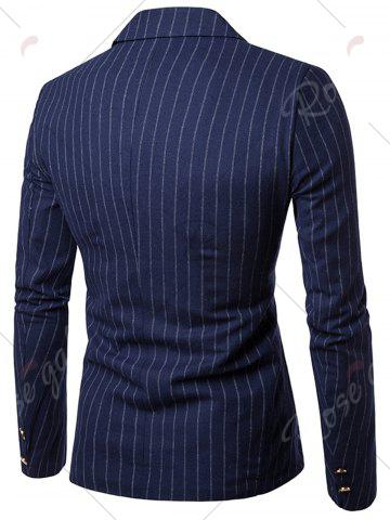 Buy Peaked Lapel Vertical Stripe Casual Blazer - 2XL CADETBLUE Mobile