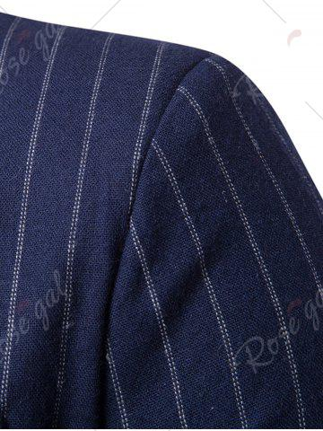 Sale Peaked Lapel Vertical Stripe Casual Blazer - 2XL CADETBLUE Mobile