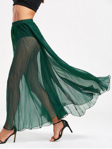 High Waist See Through Chiffon Maxi Skirt - Green - S