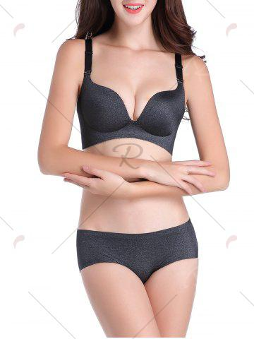Unique Seamless Push Up Adjustable Straps Bra - 85C DEEP GRAY Mobile