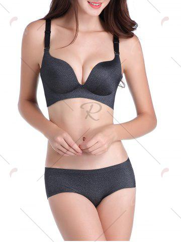 Best Seamless Push Up Adjustable Straps Bra - 85C DEEP GRAY Mobile