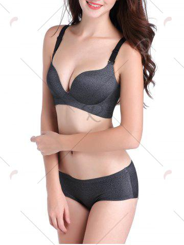 Outfits Seamless Push Up Adjustable Straps Bra - 85C DEEP GRAY Mobile