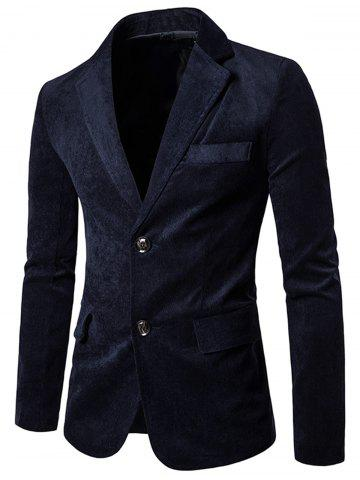 Fashion Notch Lapel Flap Pockets Corduroy Casual Blazer CADETBLUE 2XL