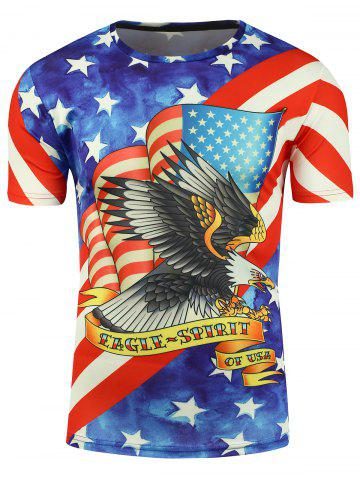 Fancy Short Sleeve 3D Eagle and American Flag Print T-shirt - XL COLORMIX Mobile
