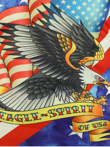 Discount Short Sleeve 3D Eagle and American Flag Print T-shirt - 2XL COLORMIX Mobile
