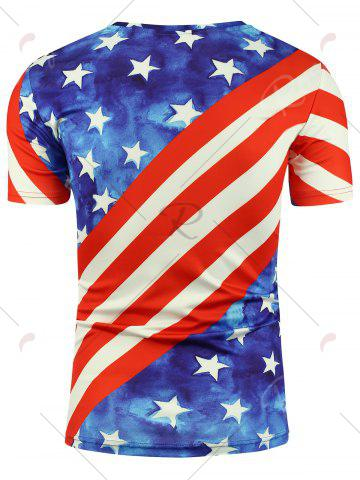 Chic Short Sleeve 3D Eagle and American Flag Print T-shirt - 2XL COLORMIX Mobile