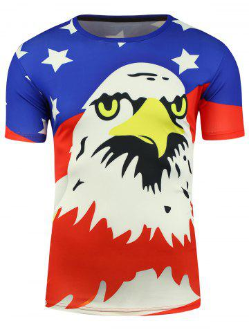 Fancy Cartoon Eagle and American Flag Print T-shirt