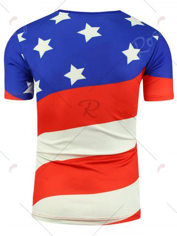 Latest Cartoon Eagle and American Flag Print T-shirt - 3XL COLORMIX Mobile