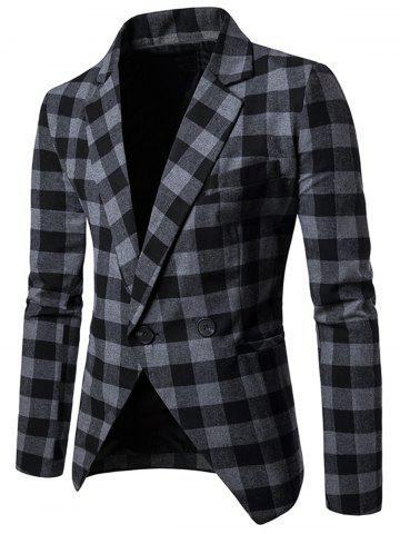 New Notch Lapel One-button Plaid Casual Blazer GRAY L