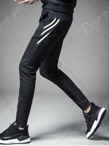 Store PU Leather Stripe Design Drawstring Jogger Pants - L BLACK Mobile
