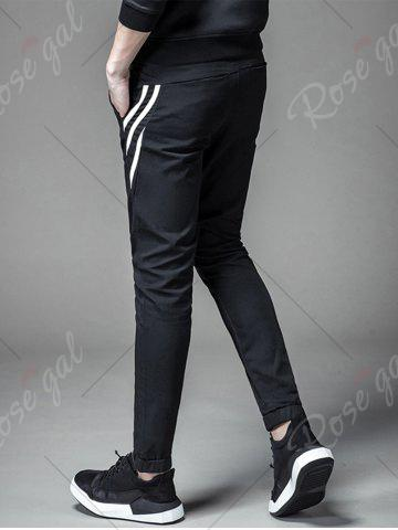 Outfits PU Leather Stripe Design Drawstring Jogger Pants - L BLACK Mobile