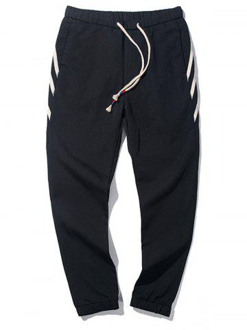 PU Leather Stripe Design Drawstring Jogger Pants - Black - 2xl