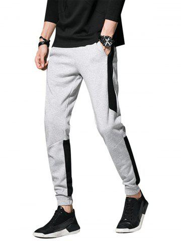 Affordable Color Block Panel Drawstring Beam Feet Jogger Pants - 3XL GRAY Mobile