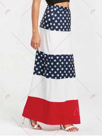 Shop Stars and Stripes Print Maxi Straight Skirt - S COLORMIX Mobile