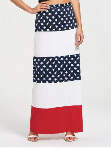 Stars and Stripes Print Maxi Straight Skirt - Colormix - S