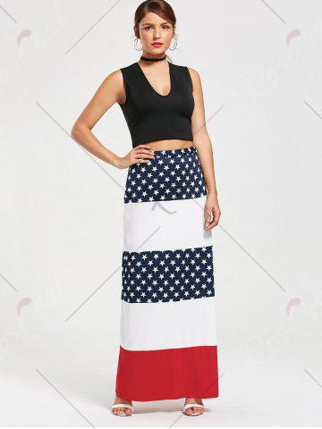 Best Stars and Stripes Print Maxi Straight Skirt - S COLORMIX Mobile