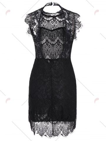 Discount Sleeveless Half Sheer Nightclub Lace Sheath Dress - L BLACK Mobile