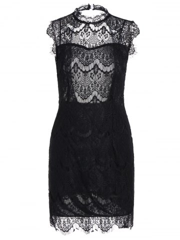 Chic Sleeveless Half Sheer Nightclub Lace Sheath Dress - L BLACK Mobile