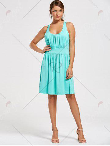 Trendy Lace Racerback Ruched Sleeveless Casual Dress - S SEASIDE Mobile