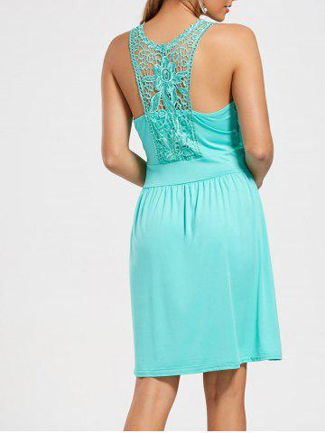 Lace Racerback Ruched Sleeveless Casual Dress Cyan Clair S