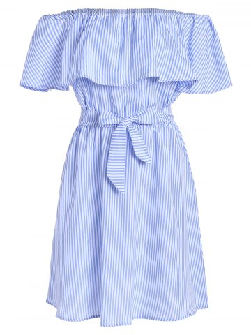 Store Off The Shoulder Tie Waist Stripe Dress