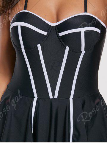 Best One Piece Criss Cross Skirted Swimsuit - L BLACK Mobile