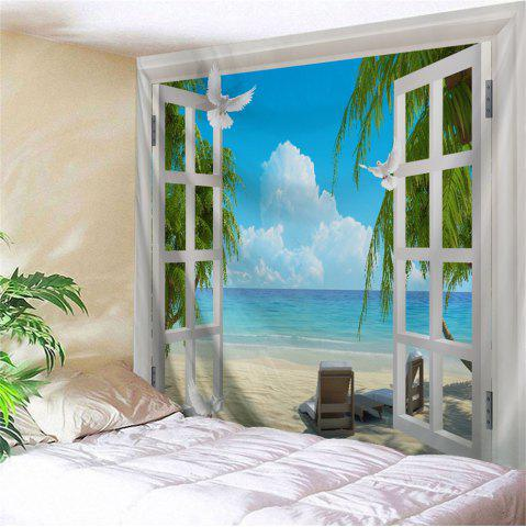 Beach Sea Window Print Tapestry Wall Hanging Art Decoration - Colormix - W59 Inch * L79 Inch