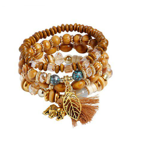 Elephant Leaf Tassel Wooden Beaded Bracelet Set - Coffee - One-size