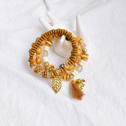 Unique Elephant Leaf Tassel Wooden Beaded Bracelet Set - COFFEE  Mobile
